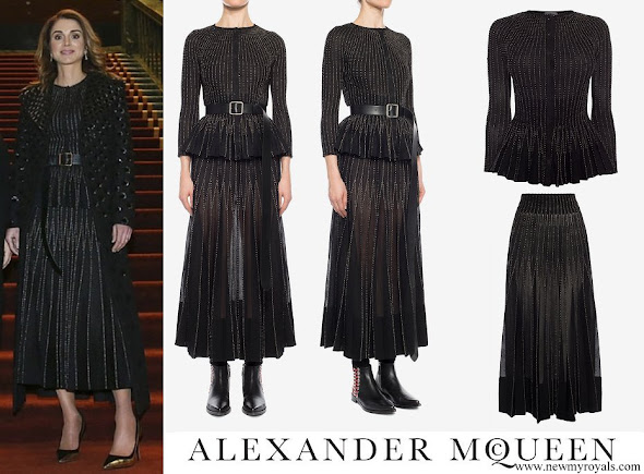 Queen Rania wore Alexander McQueen knit peplum cardigan and knit skirt