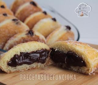 Receta de Donuts de Azúcar rellenos de crema de Chocolate casera