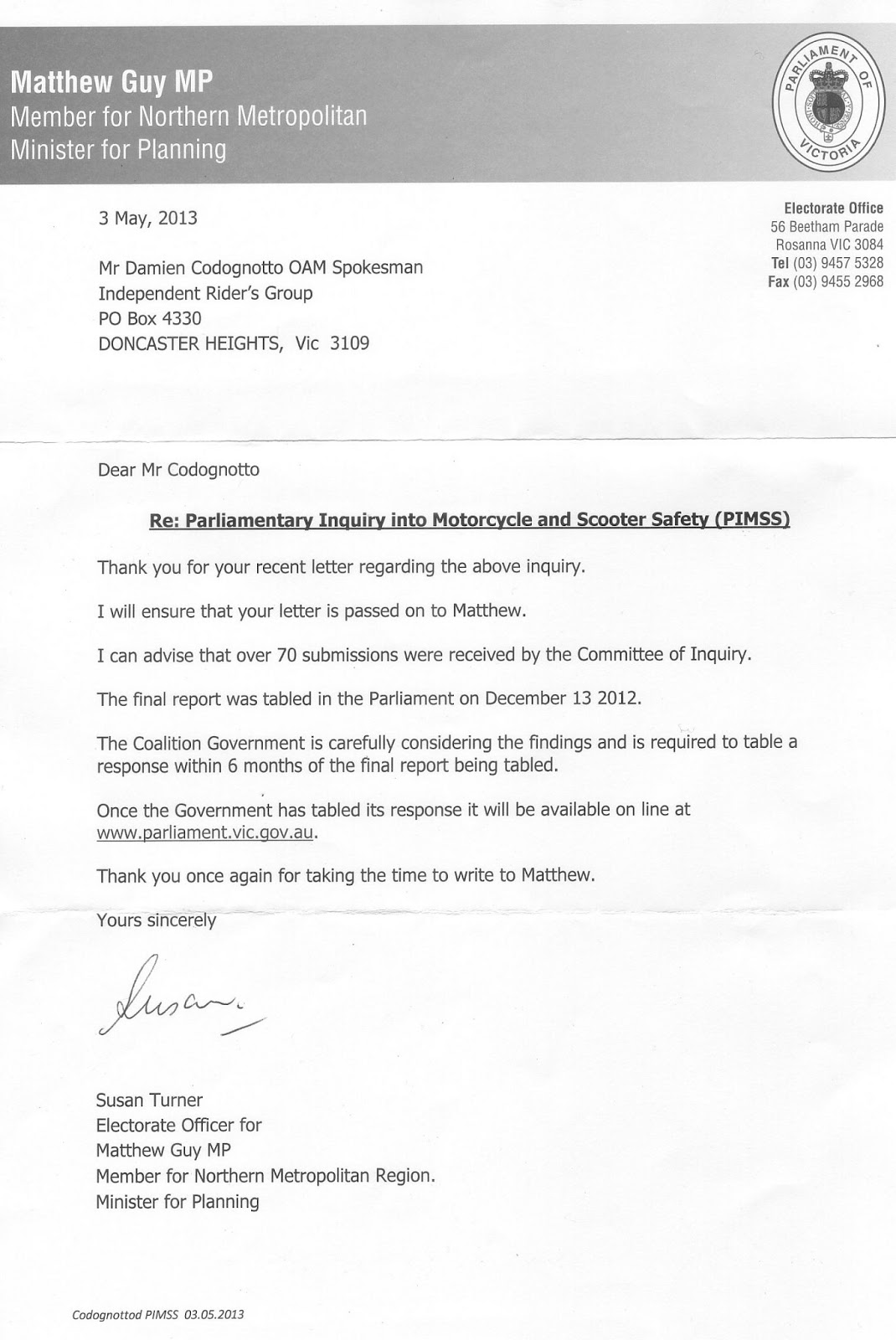 Letter Local Mp Euthanasia