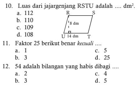 Kumpulan Soal UAS Matematika kelas 4 SD Semester 1 Kurikulum KTSP