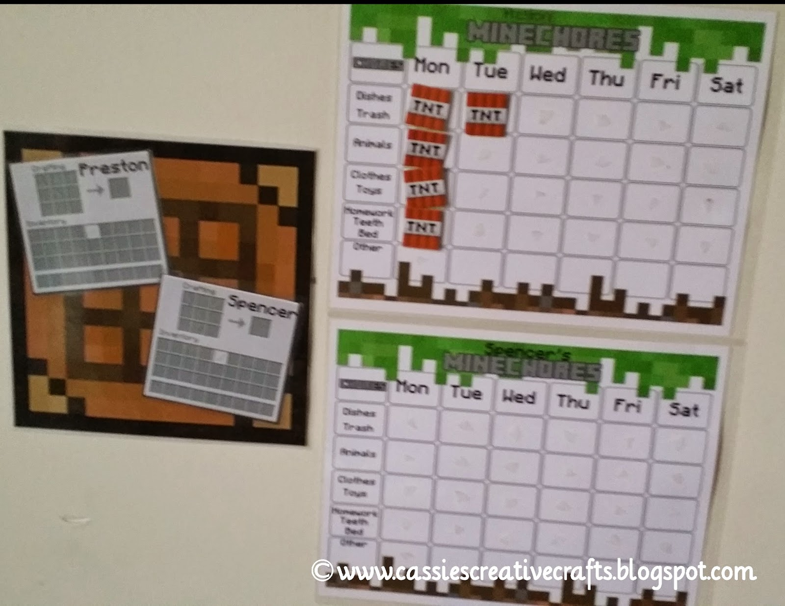 Minecraft Chore Chart and Rewards by Cassis Creative Crafts