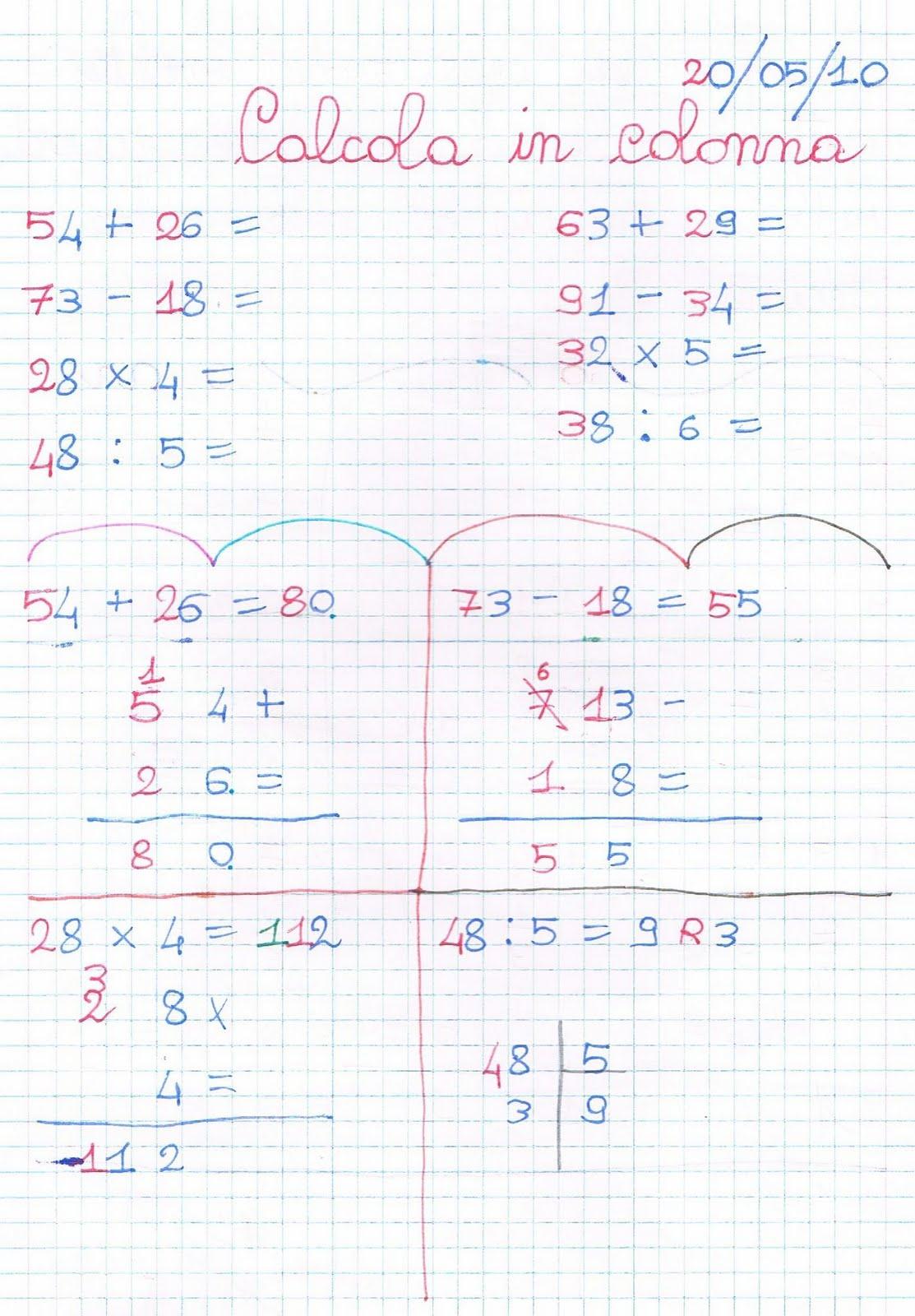 Verifica di matematica per la classe seconda - Le quattro ...