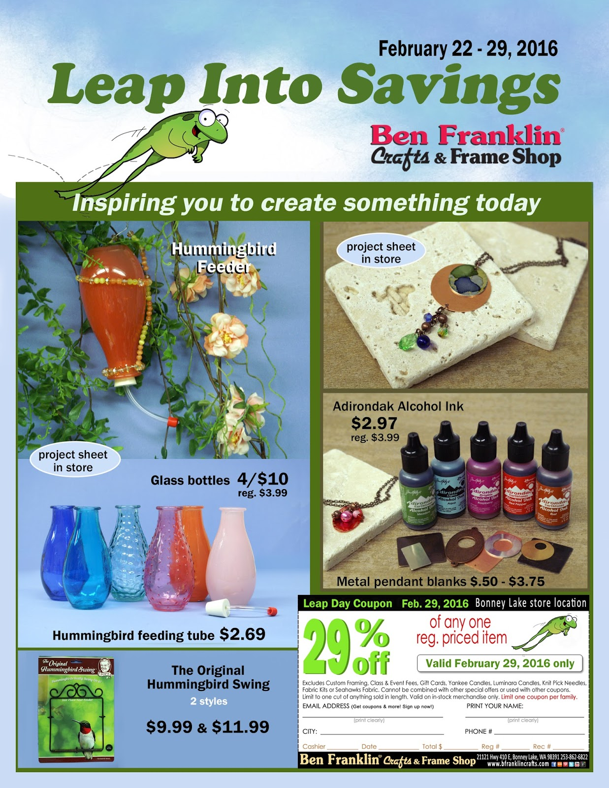 Ben franklin crafts and frame shop leap year special sale for Ben franklin craft store coupons