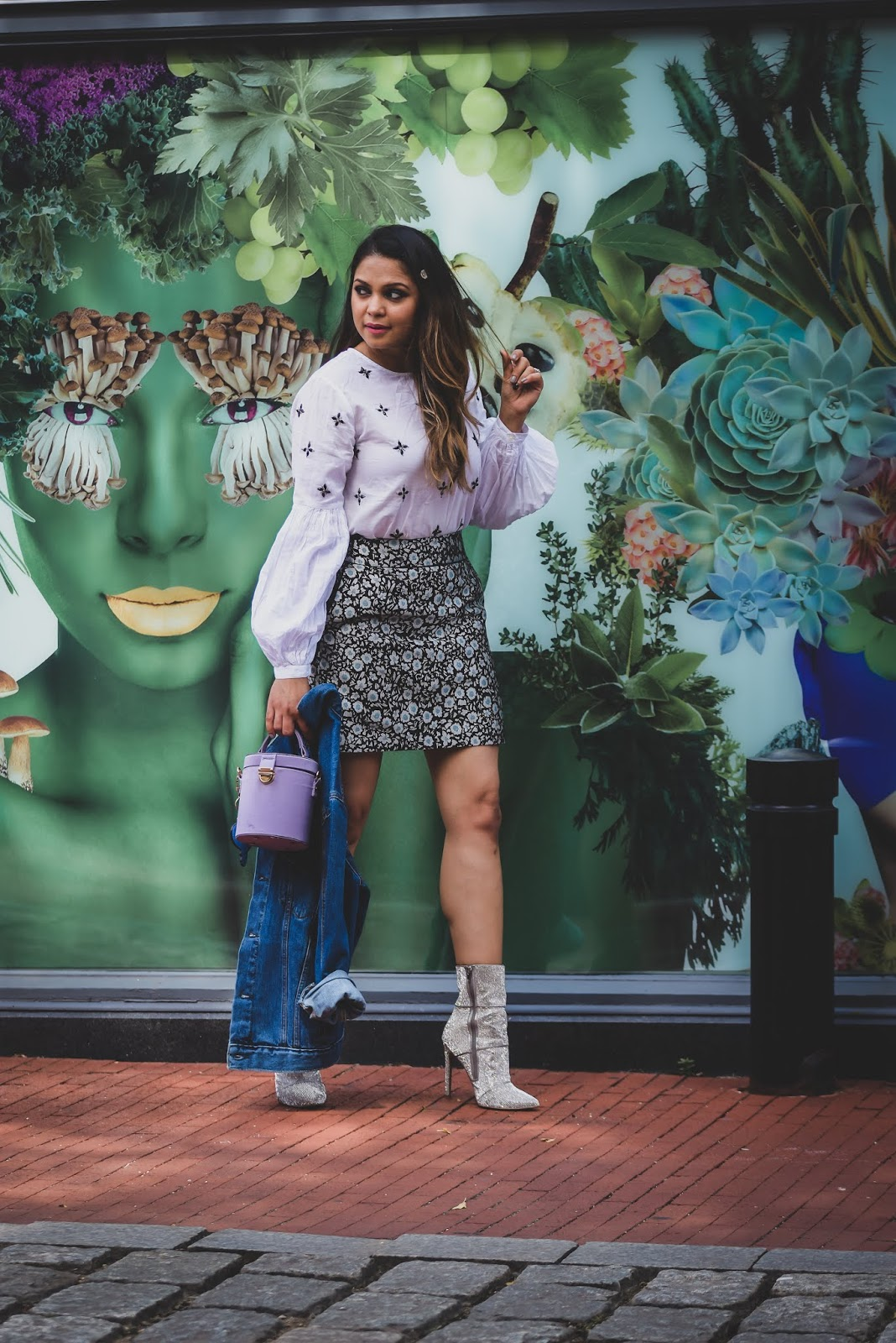how to wear sequin booties this fall, fall mini kirt outfit, jacquard skirt, white blouse, hair style, fall fashion, street style, denim jacket, personalized denim jacket, fashion, myriad musings
