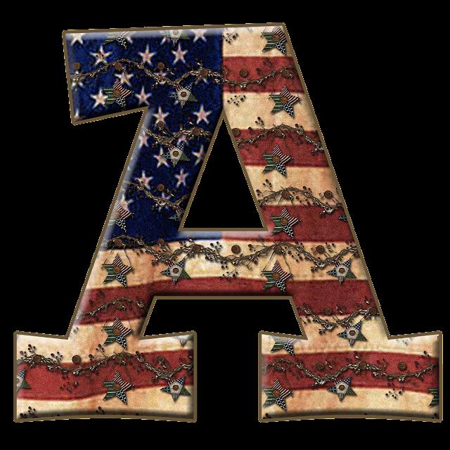 Alfabeto con Bandera de USA Vieja.  Alphabet with the USA Flag in Metal.