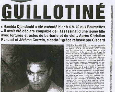 Hamida Djandoubi, último guillotinado en Francia