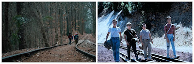 Los niños de Stranger Things y Cuenta Conmigo andando por las vías de tren