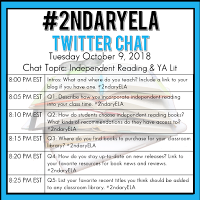 Join secondary English Language Arts teachers Tuesday evenings at 8 pm EST on Twitter. This week's chat will be about independent reading and young adult literature.