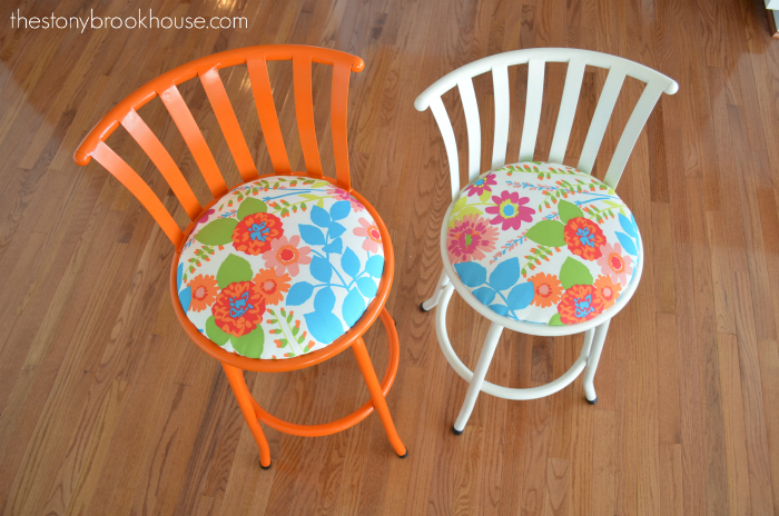 Orange & White Barstool Makeovers