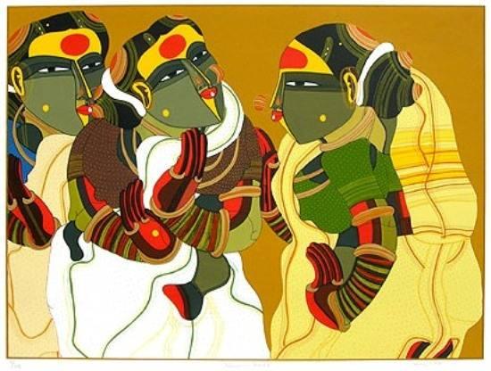 Women in Gossip by Thota Vaikuntham, Screenprint in 38 colours (www.indiaart.com)