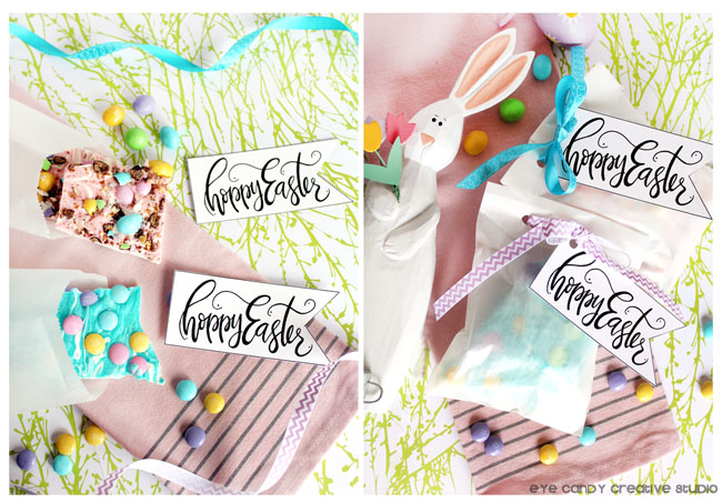 bunny bark, free easter art, easter tags, hoppy easter, hand lettering
