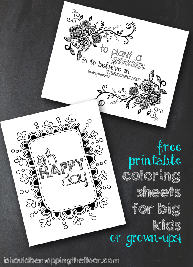 Free Printable Coloring Sheets for Big Kids and Grown Ups, too!