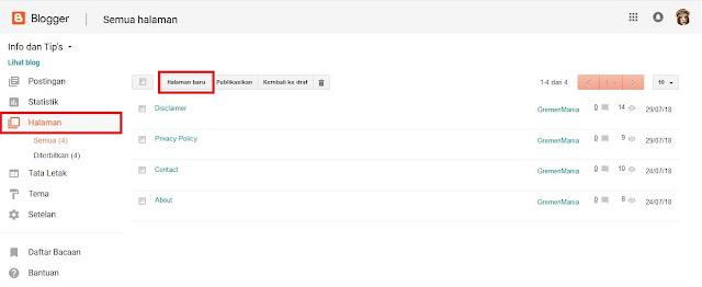 Buka blog Sobat kemudian klik Opsi Halaman terus klik Halaman baru.