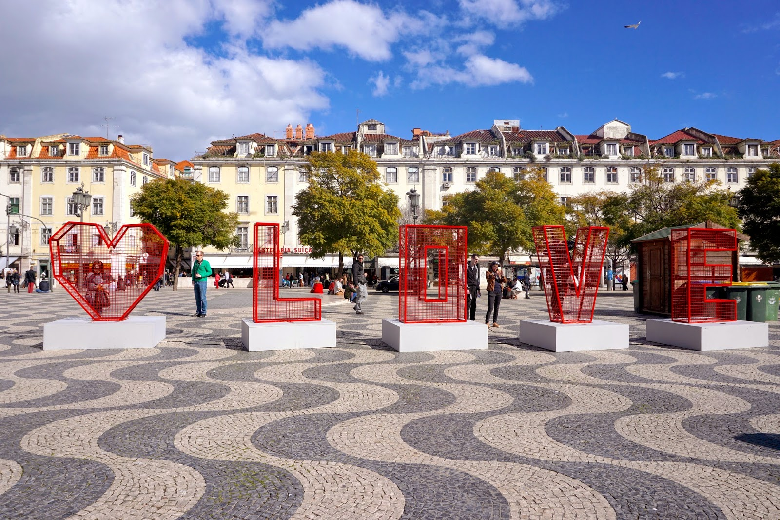 Love sign in Rossio Square for Valentine's Day in Lisbon