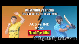 Today 3rd ODI Match Prediction Australia vs India