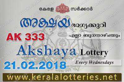 Kerala Lottery Results  21-Feb-2018 Akshaya AK-333 www.keralalotteries.net