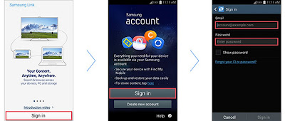 Samsung links Create Account