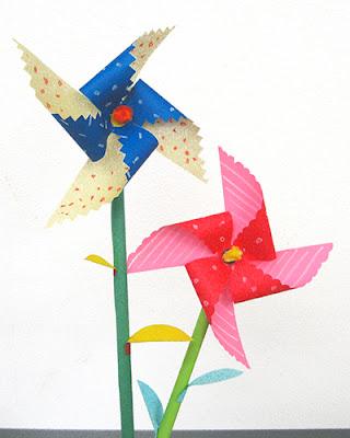 かざぐるま、折り紙、おりがみ、花