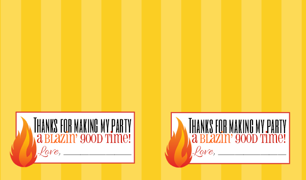Free printable favor tags for a fireman / firetruck birthday party