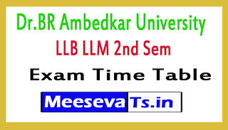 Dr.BR Ambedkar University LLB LLM 2nd Sem Exam Time Table