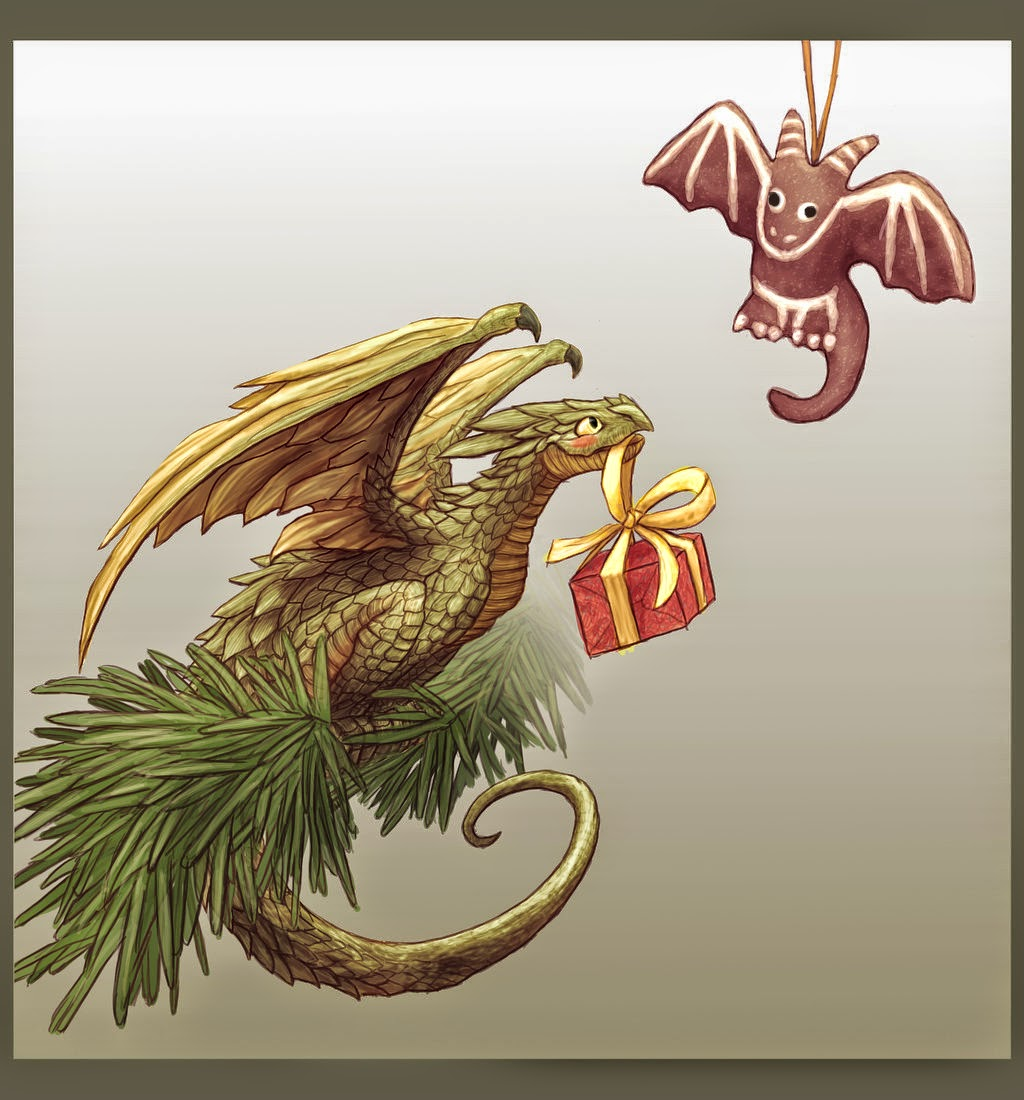 Christmas Dragon.Dragonsfaerieselves Theunseen Christmas Dragon Art
