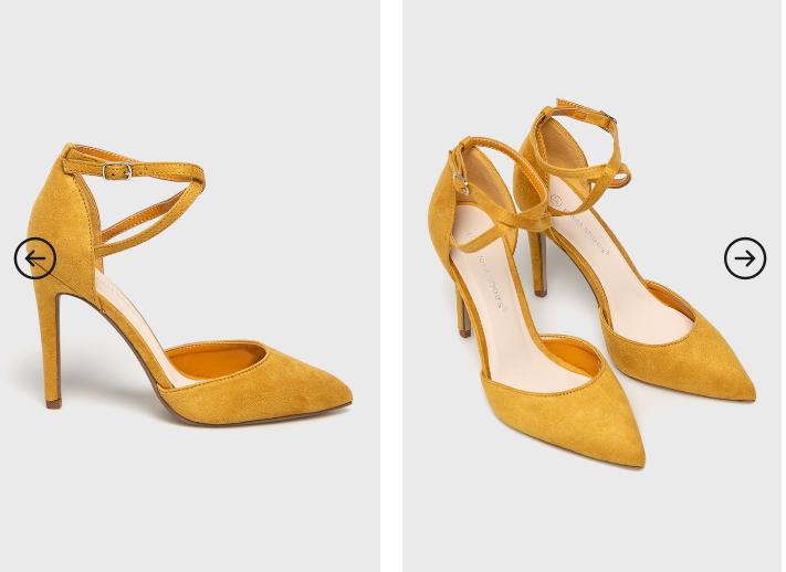 Pantofi cu toc galbeni de ocazii la moda 2019 piele intoarsa cu barete