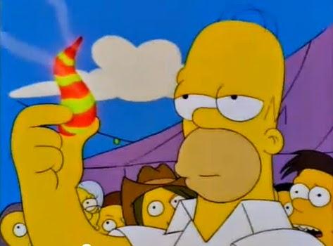 Homer Simpsom a punto de probar los efectos del chile de un manicomio guatemalteco de Quetzalzaltenango