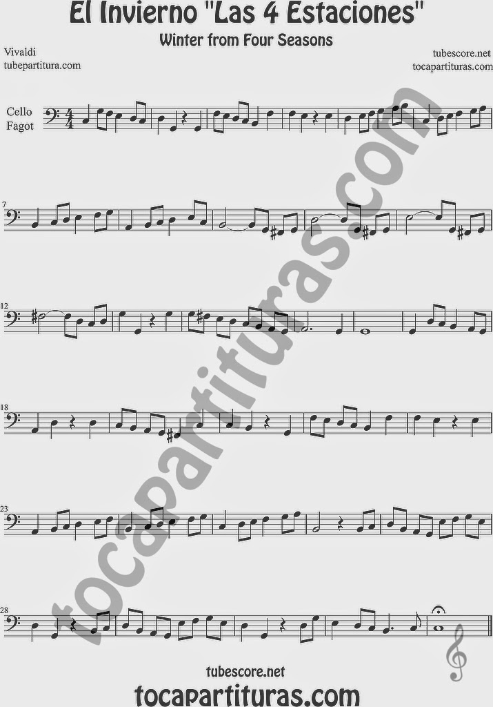 El Invierno de Vivaldi Partitura Fácil  Partitura de Violonchelo y Fagot Sheet Music for Cello and Bassoon Music Scores Easy Winter From the Four Seasons