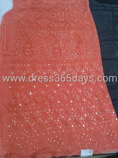 Red chikankari Dress material with mukesh kamdani work