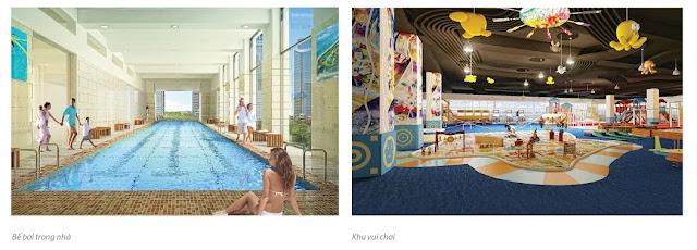 Bể bơi bốn mùa và nhà trẻ bên trong dự án
