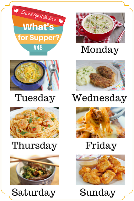 Comfort food favorites are included in What's for Supper Sunday meal plan. Like Cheeseburger Soup, Cheesy Taco Soup, Oh So Good Crispy Chicken, and more!