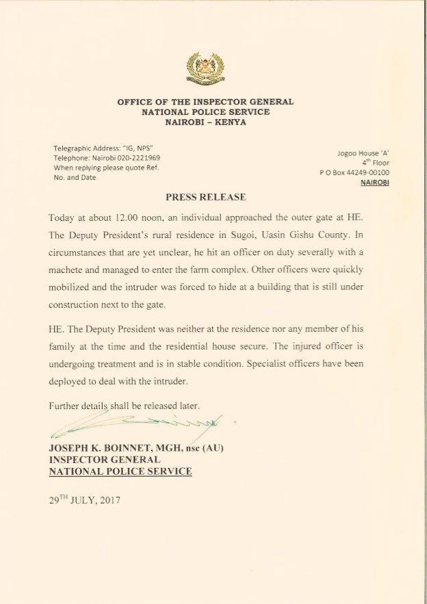 William Ruto Home Under Attack