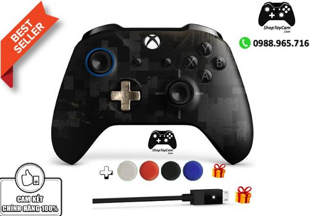 Tay Cầm Xbox One S Chính Hãng Bản Đen PUGB Limited Edition + Cáp Cable USB + Bọc Cần Analog - Ảnh 2