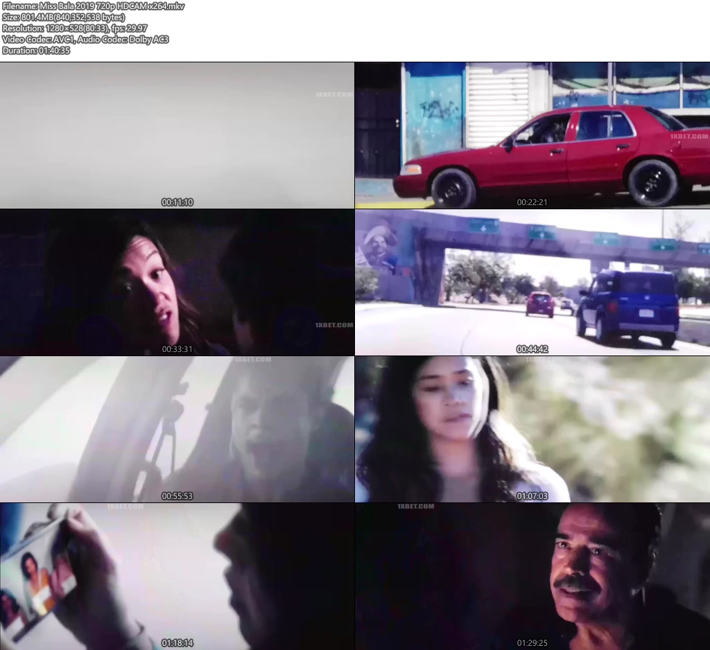 Miss Bala 2019 720p HDCAM x264 | 480p 300MB | 100MB HEVC Screenshot