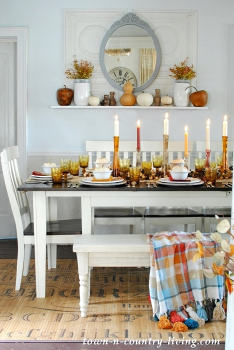 fall tablescape with traditional fall colors