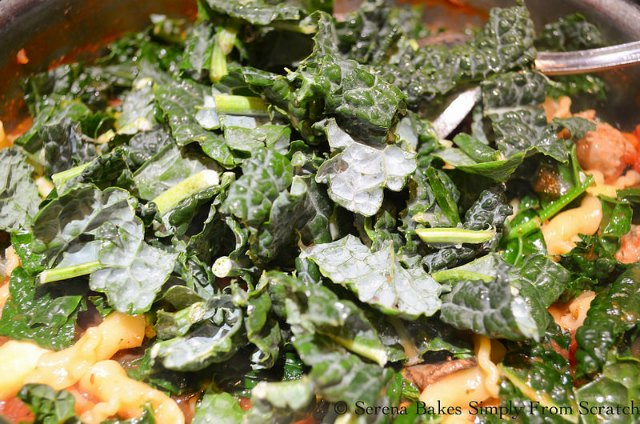 Sausage Kale Lasagna Soup recipe. Stir in kale from Serena Bakes simply From Scratch.
