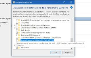 disattivare smb su Windows