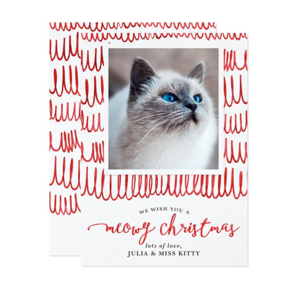 Meowy Christmas Pet Holiday Photo Cards by The Spotted Olive for Zazzle