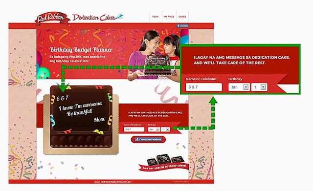 red ribbon dedication cakes and birthday budget planner microsite