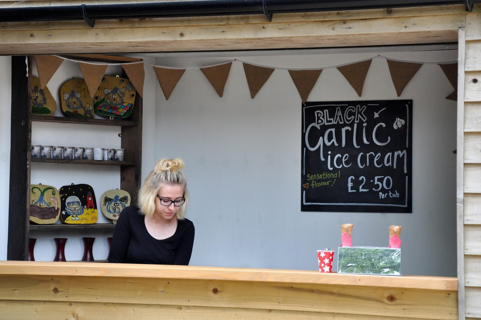 Black garlic ice cream, The Garlic Farm, Isle of Wight, UK
