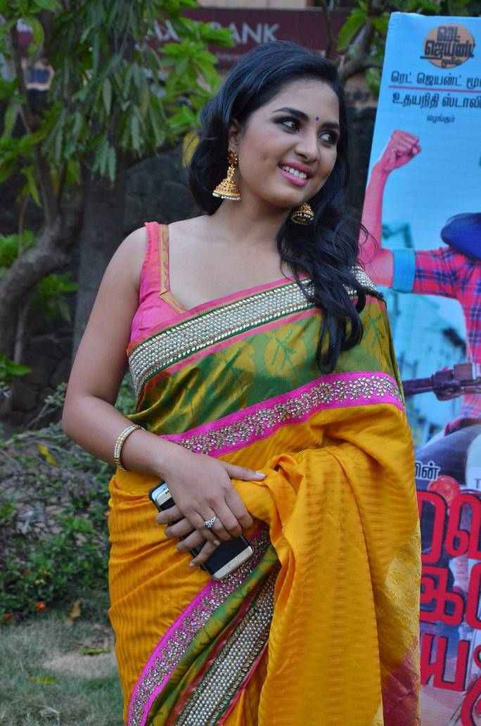 Beautiful Telugu Girl Srushti Dange Stills In Yellow Saree At Press Meet