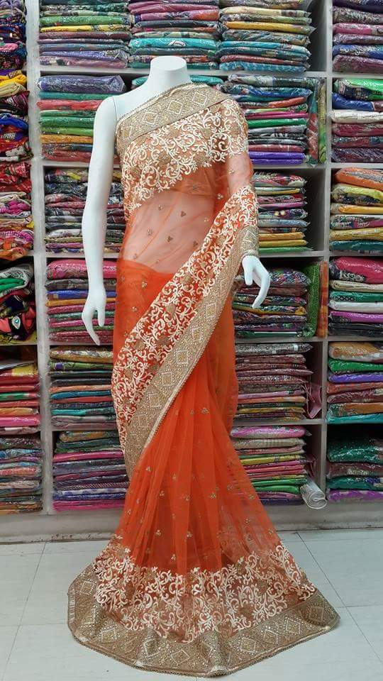 Full net Heavy work and border Blouse chanderi silk saree-Purchase now