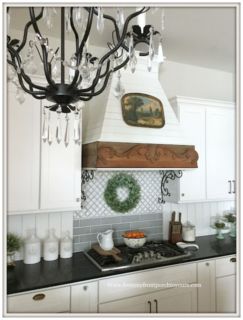 French Country Farmhouse Kitchen-Custom Range Hood-Shiplap-Custom Backsplash-From My Front Porch To Yours