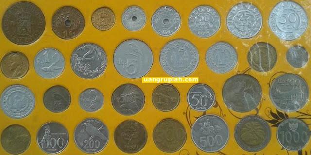 32 Uang Koin Logam Cent, Sen, dan Rupiah Indonesia Tahun Emisi 1945 sampai 2010