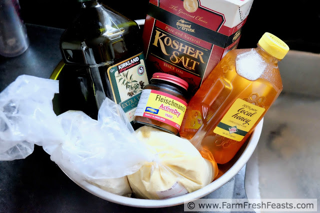 ingredients for making honey semolina wheat pizza dough