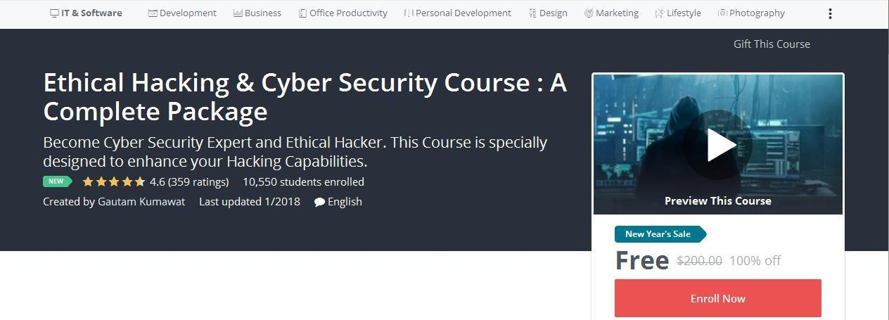 Ethical hacking cyber security course a complete package couponis 100 off coupon ethical hacking cyber security course a complete package fandeluxe Gallery