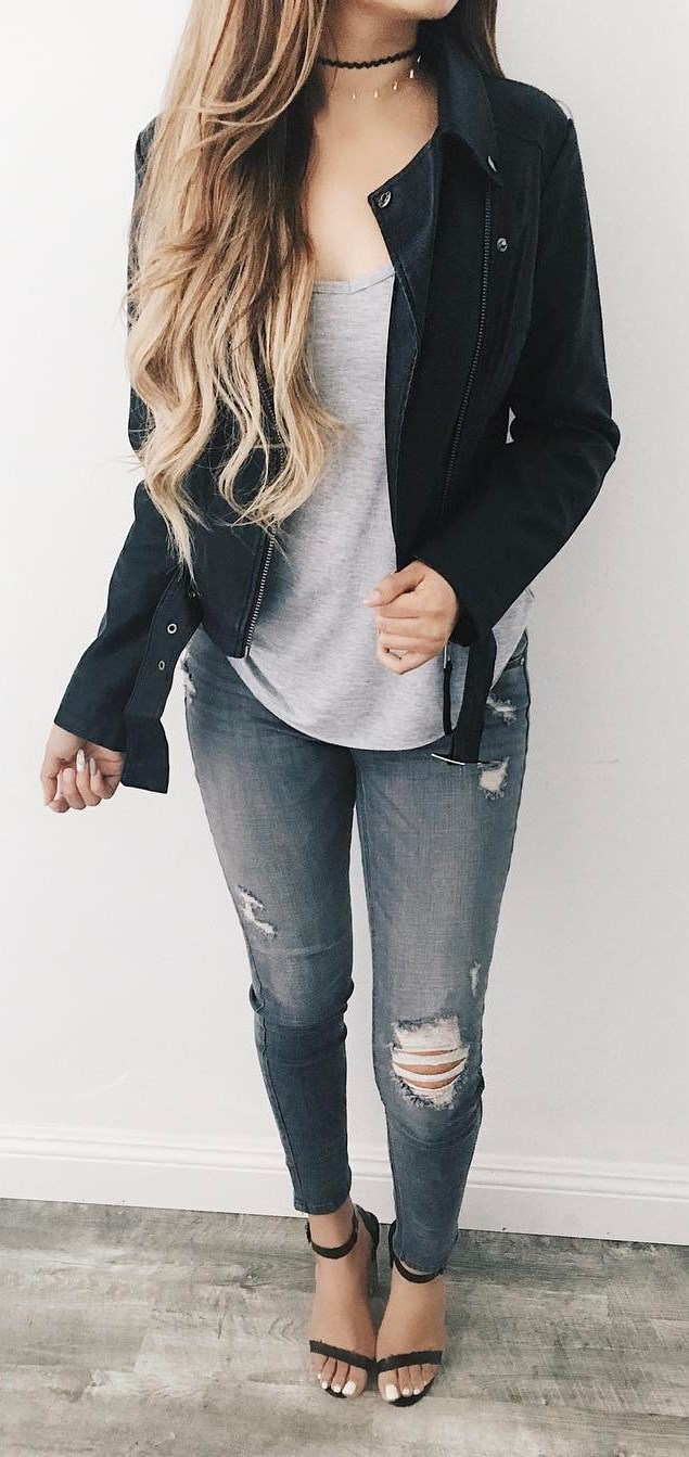 street style perfection / black biker jacket + top + ripped jeans + heels