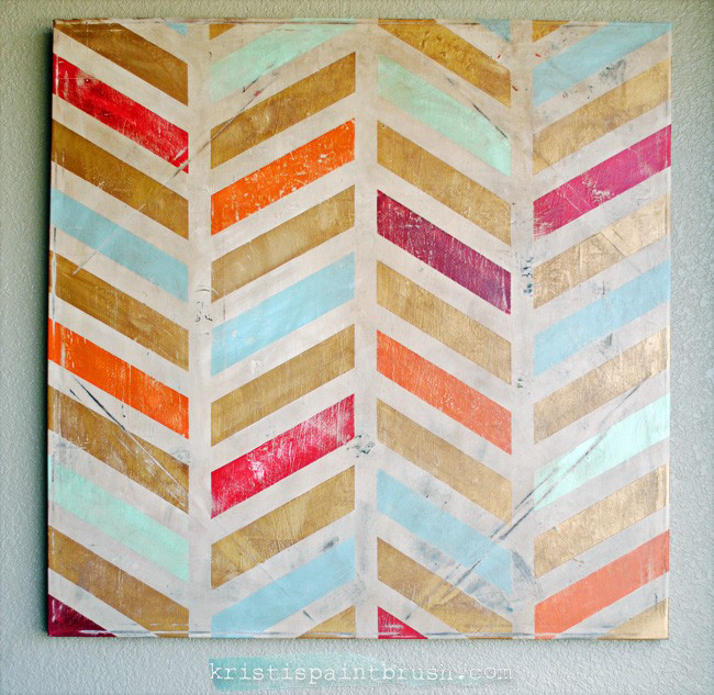 DIY Wall Decor Art Herringbone Paint Canvas Gold Red Orange Blue Distressed Vintage Tape