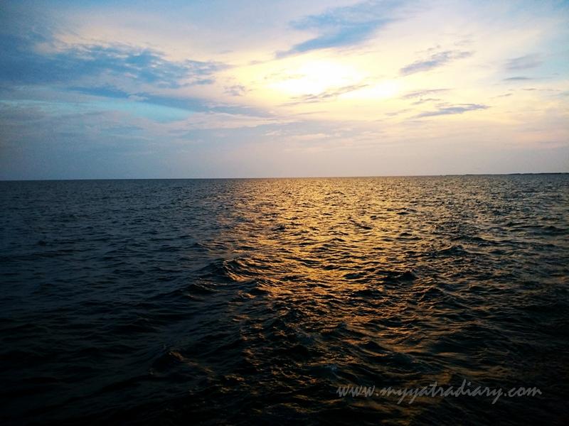 Reflections of the Rameshwaram sea seen during boat ride in Rameswaram, Tamil Nadu