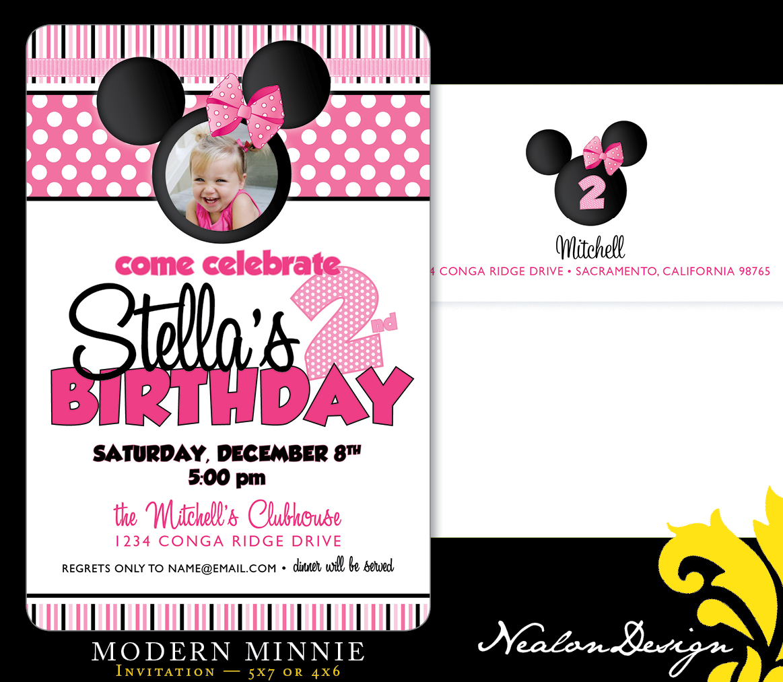 nealon design modern minnie mouse birthday invitation
